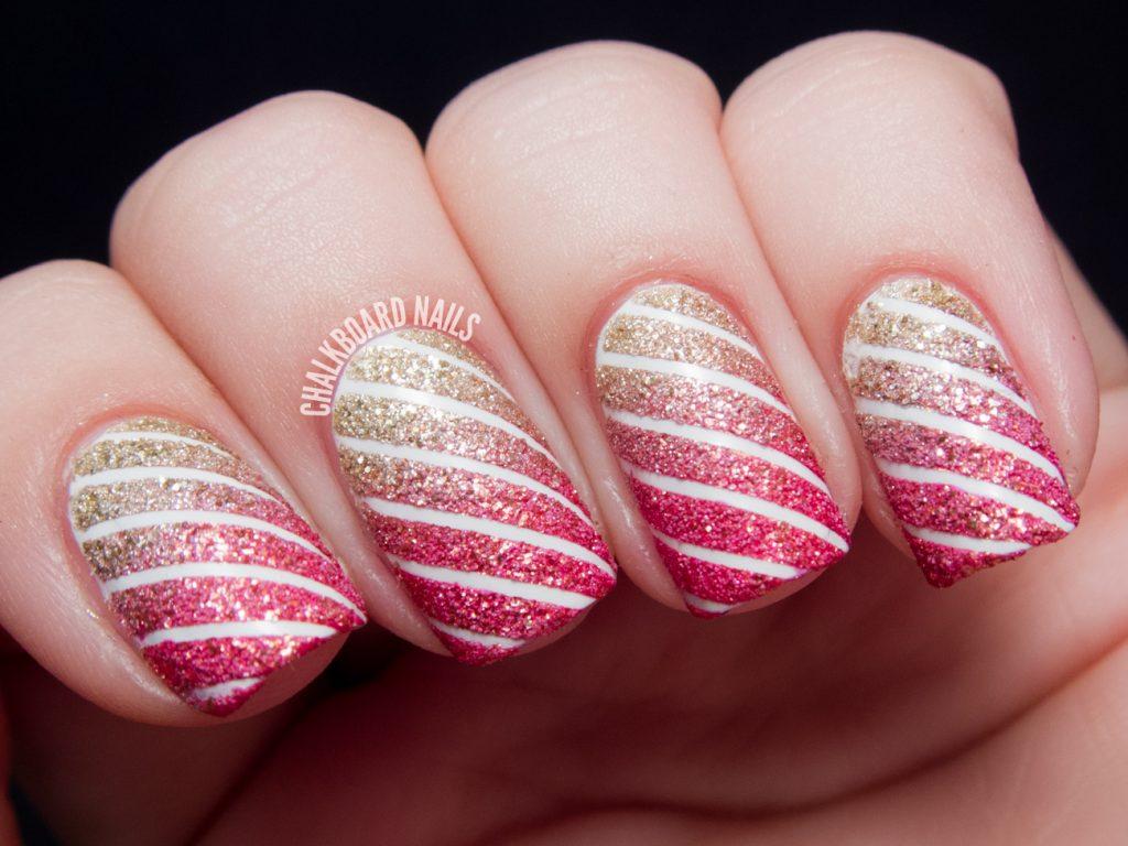 stripped nail art
