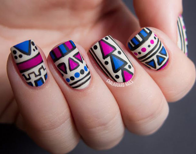 Easy Tribal Print Nails
