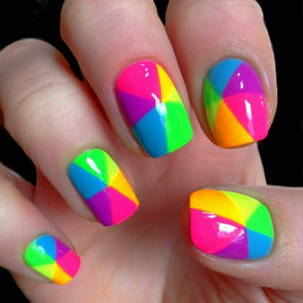 Mixed color nail art